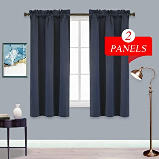 BU HUA Navy Curtains Rod Pocket Blackout Curtains Thermal Insulated Room Darkening Curtain Panels for Small Short Windows Navy Blue 38W×45L 1 Pair