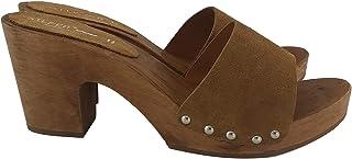 Silfer Shoes - Zoccolo in Vero Legno e Pelle di camoscio, Colore Cuoio -Susy B Marrone