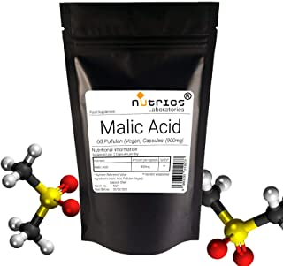Nutrics® 100% ácido málico puro 900 mg | 120 cápsulas (2 meses de suministro) | Fabricado en el Reino Unido por Nutrics Laboratories | Apto para vegano halal Kosher