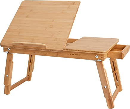 SONGMICS Multi Function Lapdesk Table Bed Tray Foldable Adjustable Breakfast Table Tilting Top with Storage Drawer Bamboo Wood Natural ULLD01N