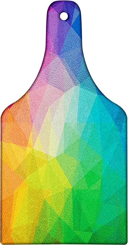 Lunarable Abstract Cutting Board Rainbow Themed Various Abstract Multicolored Geometrical Shapes Artwork Print Tempered Glass Serving Board Wine Bottle Shape Medium Size Multicolor
