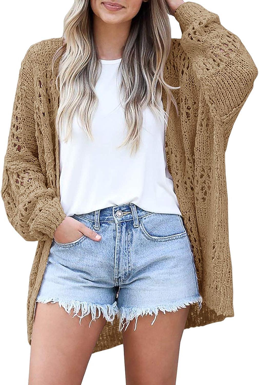 Ermonn Womens Crochet Cardigan Sweater Kimonos Boho Solid Color Oversized Summer Open Front Outwear