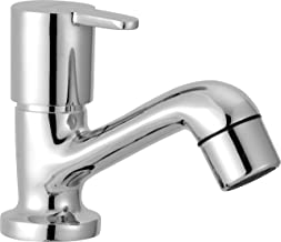 Smile Fusion Series Pillar Cock Stainless Brass Chrome Finish Water Tap for Bathroom Kitchen Sink Garden (Silver, 1 Piece)