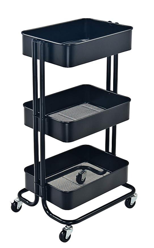 懐最近無し収納カート3層メタルカートローリングユーティリティカート車輪付きキッチンベッドルームオフィス (ベージュ) (ブラック(黒))