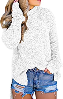 Womens Fuzzy Knitted Sweater Sherpa Fleece Side Slit Full...