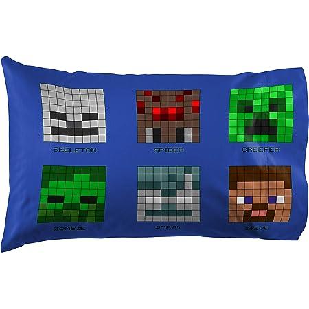 Minecraft Pixels Duvet Cover and Pillowcase Set Skeleton Steve Alex Reversible