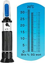 Brix Refractometer for Homebrew Beer Wort, iTavah Dual Scale Automatic Temperature Compensation 0-32% Specific Gravity Hydrometer with ATC
