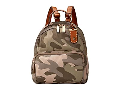 Tommy Hilfiger Julia Dome Camo Nylon Backpack (Green) Backpack Bags