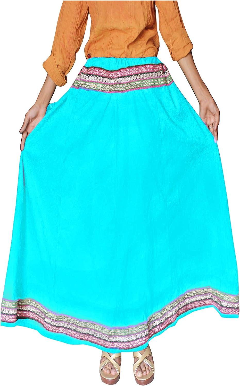 Lakkar Haveli Indian Women's Skirt Beach Wear Casual Gypay Cotton Hippie Baggie Teal Color