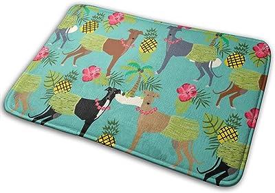 "Tiki Hula Dancer Greyhound - Dog, Dog, Greyhound, Dog Breeds, Tropical Palm Trees, Cute Dog Design - Turquoise_16420 Doormat Entrance Mat Floor Mat Rug Indoor/Outdoor/Front Door/Bathroom Mats Rubber Non Slip 23.6"" X 15.8"""