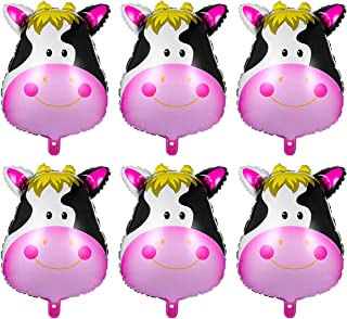 TOYMYTOY 6Pcs Cute Animal Cow Balloons Foil Helium Ballon Kit for Zoo Theme Birthday Party Decorations (Cow Head)