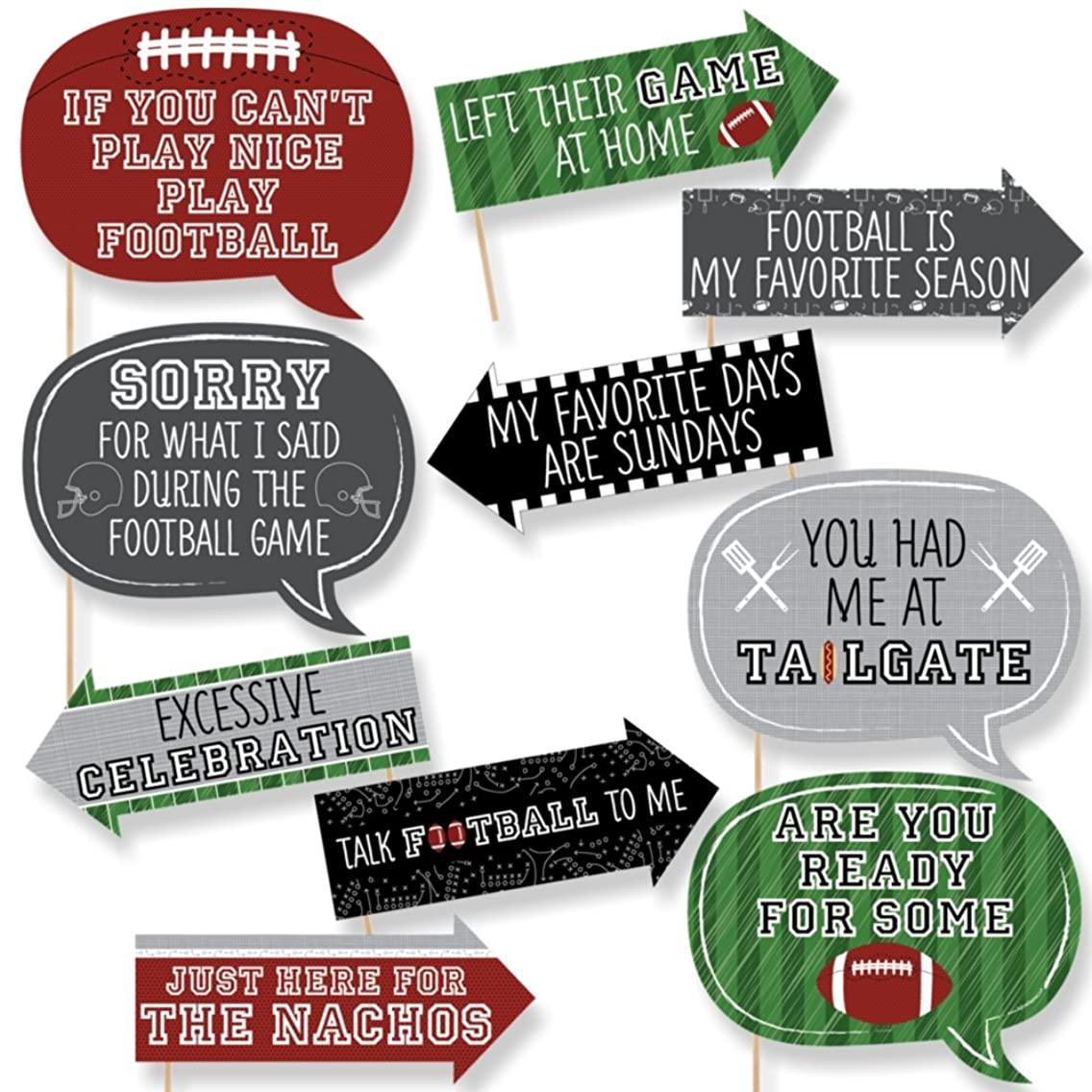 Big Dot of Happiness Funny End Zone - Football - Tailgating Party Photo Booth Props Kit - 10 Piece