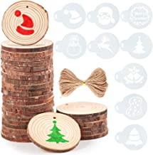 Caydo 30 Pieces 2.4-2.8 Inch Unfinished Round Wood Slices with Holes, 10 Piece Christmas Pattern Stencils and 33 Feet Natural Jute Twine for Christmas Ornaments and Home Hanging Decorations