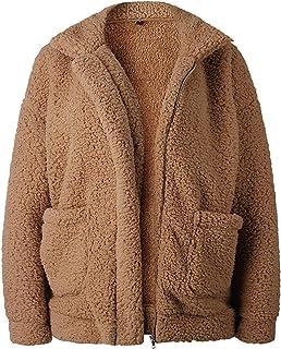 معطف SHIBEVER للنساء منفوش من مزيج الصوف الصناعي سترة شتوية دافئة بسحاب وأكمام طويلة كبيرة أزياء خارجية كبيرة الحجم