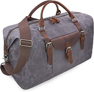 Reisetaschen Herren Leder Wasserdicht Canvas Weekender Tasche Großen Kapazität Reisetasche Unisex Vintage Handgepäck Bag Grau