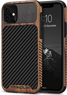 TENDLIN Compatible with iPhone 11 Case Wood Grain with Carbon Fiber Texture Design..