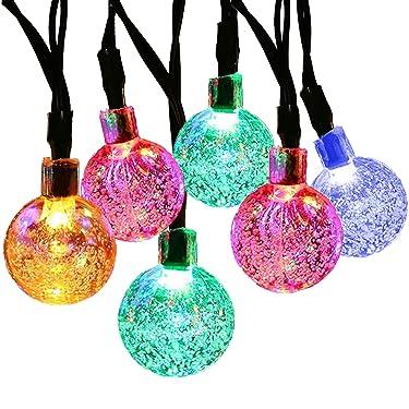 Supsoo - Cadena de luz solar de 20 pies 30 LED de cristal impermeable con cadena de luces para 8 modos de iluminación para patio, césped, jardín, boda, fiesta, decoraciones de Navidad (multicolor)