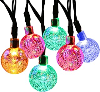 SUPSOO Solar String Light 20ft 30 LED Crystal Ball Waterproof String Lights Solar Powered Lighting for 8 Modes Lighting for Patio,Lawn,Garden,Wedding,Party,Christmas Decorations(Multi-Color)