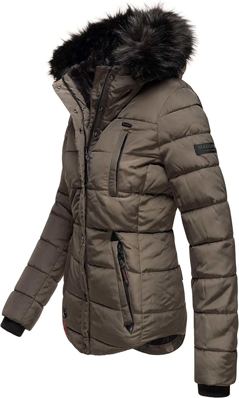 Marikoo Damen Winter Jacke Herbst Stepp Kurz Parka warm Teddyfell gefüttert 6 Farben Camouflage XS - XXL Lotusblüte Anthrazit