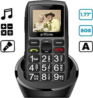 artfone Teléfono Movil para Personas Mayores con Teclas Grandes Móviles para Ancianos con Doble SIM y SOS Botón Batería de 1400 mAh Base de Carga 2G
