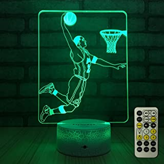 FlyonSea Basketball Light,Basketball Beside Lamp 7 Colors Change Remote Control with Timer Kids Night Light Optical Illusion Lamps for Kids Lamp As a Gift Ideas for Boys or Kids