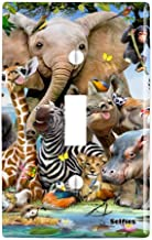 GRAPHICS & MORE Africa Animals Smile Selfie Elephant Giraffe Zebra Hippo Rhino Plastic Wall Decor Toggle Light Switch Plate Cover