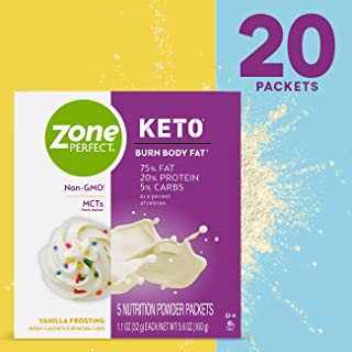 ZonePerfect KETO ZonePerfect Keto Powder, Vanilla Frosting Flavor, True Keto Macros To Burn Body Fat, Made With MCTs, 1.1 Oz, Pack of 20