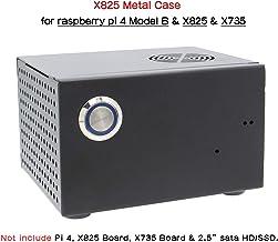 Geekworm Raspberry Pi X825 - Carcasa de Metal a Juego + Interruptor + Ventilador de refrigeración, chasis de Panal para Placa SATA X825 SSD y HDD y Raspberry Pi 4 Modelo B y X735