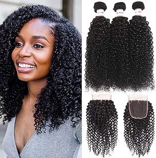Karbalu Hair 10A Brazilian Kinky Curly Virgin Hair 3 Bundles with Closure Brazilian Curly Hair Weave Bundles With Lace Closure(12 14 16+10 Free Part Closure)