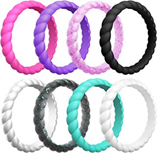 ThunderFit Womens Thin Swivel Rings, 10 Rings / 8 Rings / 4 Rings / 1 Ring - Stackable Silicone Wedding Rings