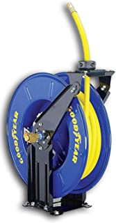 Goodyear, carrete retráctil de manguera de aire/agua, accionado por resorte de 3/8 pulgadas x 50 pies de largo, manguera d...