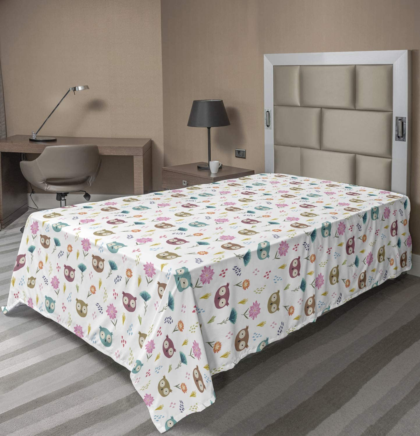 Ambesonne Nursery Don't miss the campaign Flat Sheet Repetitive Pattern Owl Eyed He Big Fresno Mall