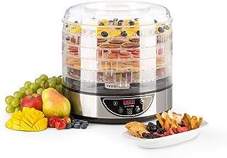Klarstein Fruitower D Deshidratador Automatico de Alimentos - Secador Vegetales, Setas, Carnes y Frutas, 35-70ºC, Temporizador, 200 240 W, Acero Inoxidable, Plateado