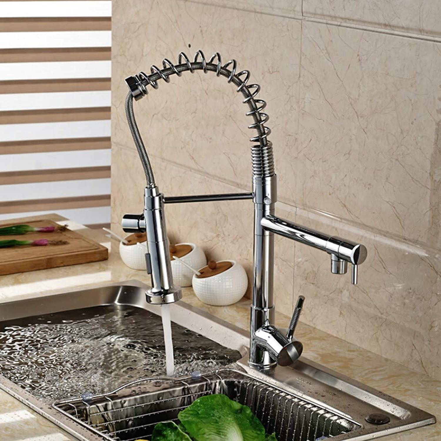 DOVPW Bathroom Faucet Chrome Basin Kitchen Faucet Pull Out Dual Spouts Spring Brass Kitchen Faucet Hot And Cold Mixer Tap Deck Mounted