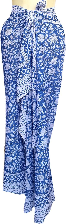 Rastogi Handicrafts 100% Cotton Hand Block Print Sarong Womens Swimsuit Wrap Cover Up Long (73
