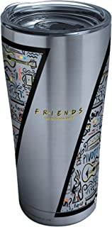 Tervis 1334008 Warner Brothers - Friends Pattern Stainless Steel Insulated Tumbler with Clear and Black Hammer Lid, 18/8, ...