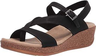 Easy Street Women's Wedge Sandal, Black, 10