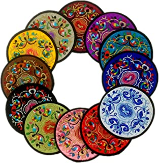 12 Pcs Embroidery Cloth Fabric Coasters for Drinks Vintage Ethnic Floral Design Cup Mat..