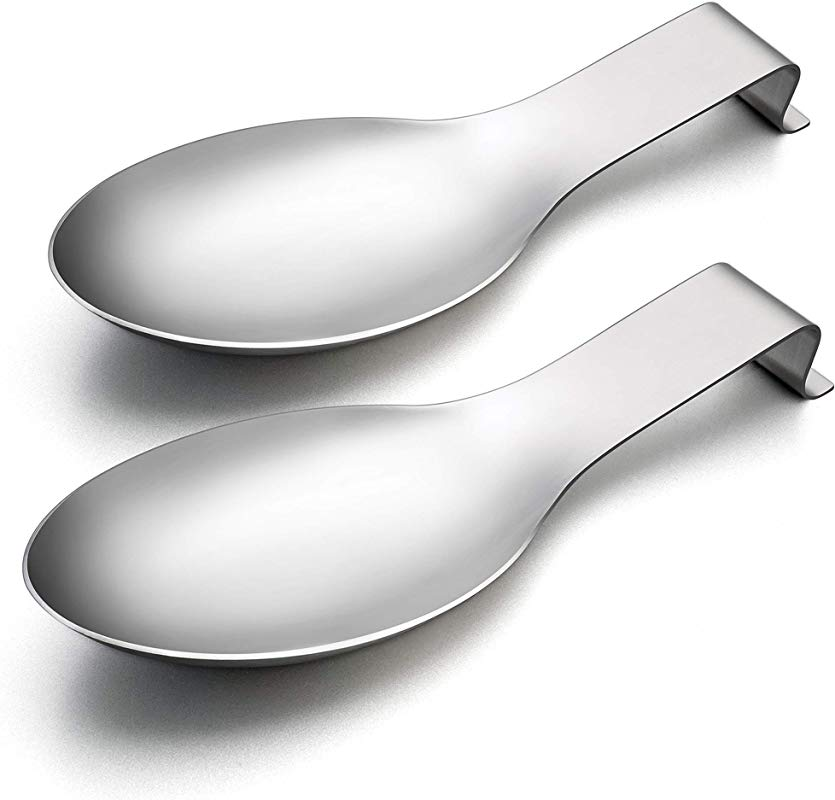 Spoon Rest Set Of 2 LIANYU Spatula Ladle Holder Stainless Steel Utensil Spoon Rest Holder Brushed Finish Dishwasher Safe
