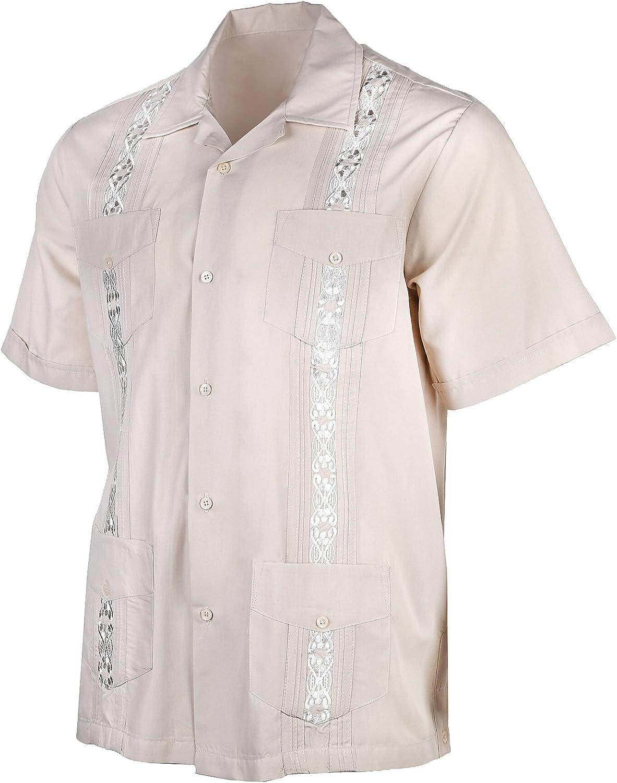 Urban Fox Mens Guayabera Shirts for Men   Short-Sleeve Shirt   Cuban   Wedding   Barong   Beach