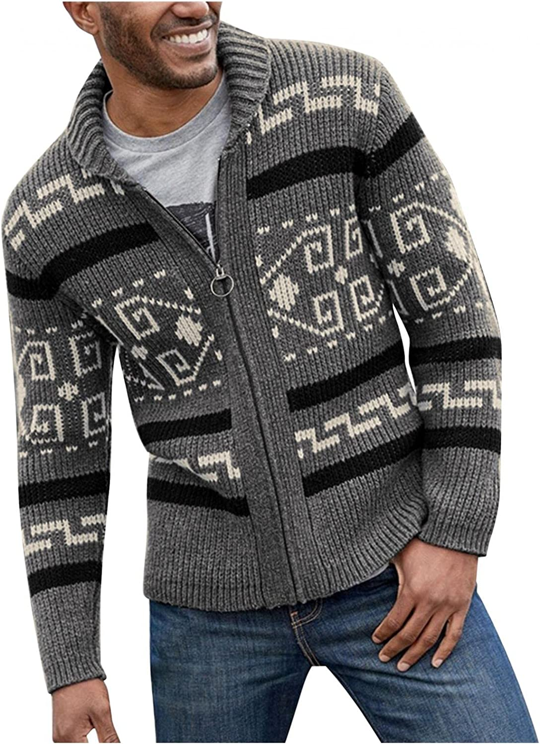 Stoota Men's Wool Blended Cardigan Sweater Outwear, Casual Slim Fit Lapel Jacquard Zipper Knitted Stretch Coat Sweaters