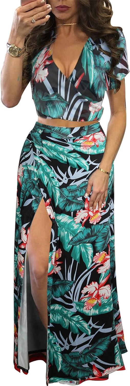 Women's Sexy Summer Dresses Beach Floral Prints Two Piece Outfits Tank Crop Tops + High Waist Side Split Maxi Skirts Sets