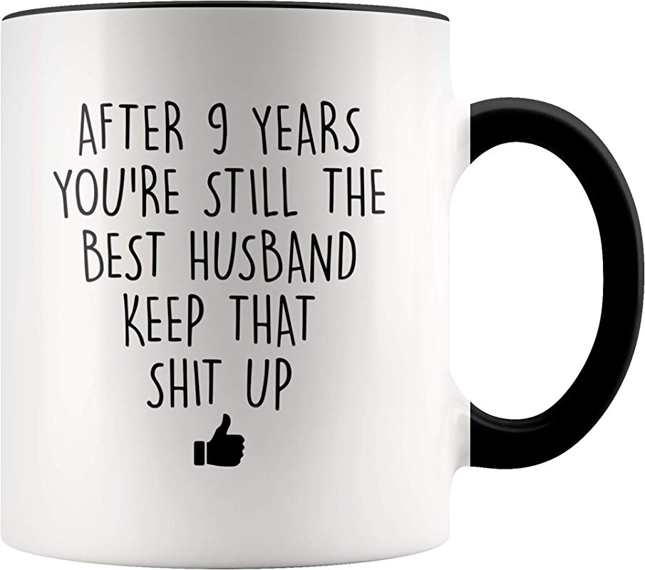 YouNique Designs 9 Year Anniversary Coffee Mug For Him 11 Ounces 9th Wedding Anniversary Cup For Husband Nine Years Ninth Year 9th Year
