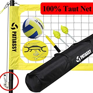Volleyball Net Set System Outdoor with Poles, Portable Volleyball Set for Backyards, Winch System for Anti Sag Net