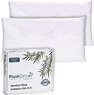 Premium Bamboo Queen Pillow Protector Covers - Waterproof, Allergy, Dust, Bed Bug, and Mite Proof Zippered Protectors - Pi...