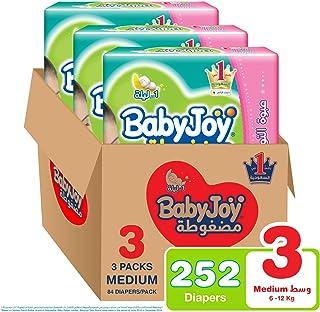 Babyjoy Compressed Diamond pad Diaper, Giant Pack Medium Size 3, Count 252, 6 - 12 KG