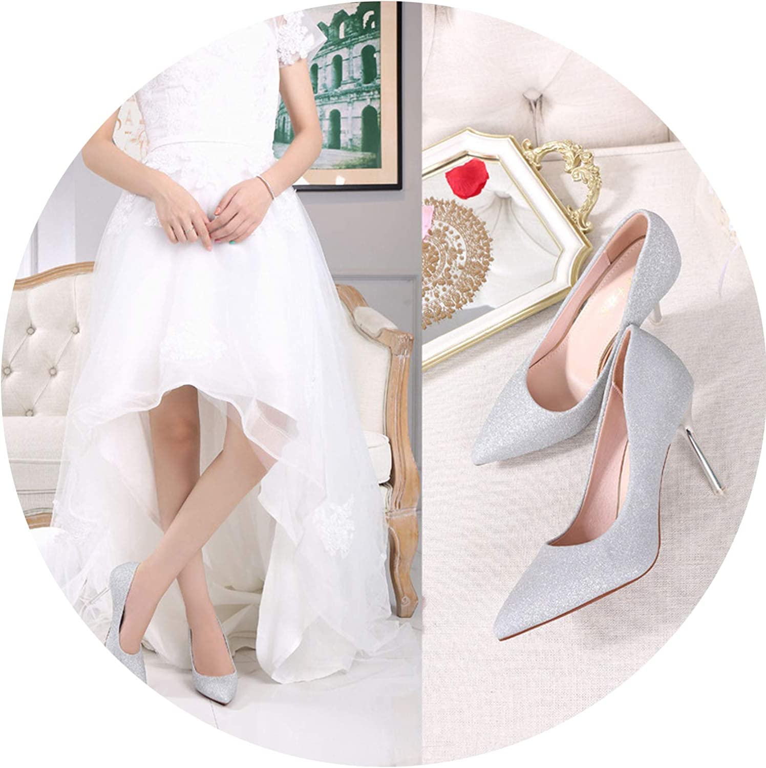 Mamamoo Wedding shoes gold Silver Stiletto Pointed shoes Wedding High-Heeled shoes Women's Sexy