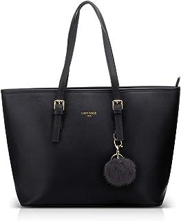 LI&HI Damen Handtasche Shopper Handtasche Schwarz Elegant Schwarze Groß Damen Tasche für Büro Schule Einkauf mit Pelz Kuge...