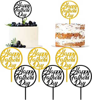 Happy Father's Day Cake Topper 12Pcs Fathers Day Decorations Cupcake Picks Gold&Black Acrylic Cake Topper Dad Party Food D...