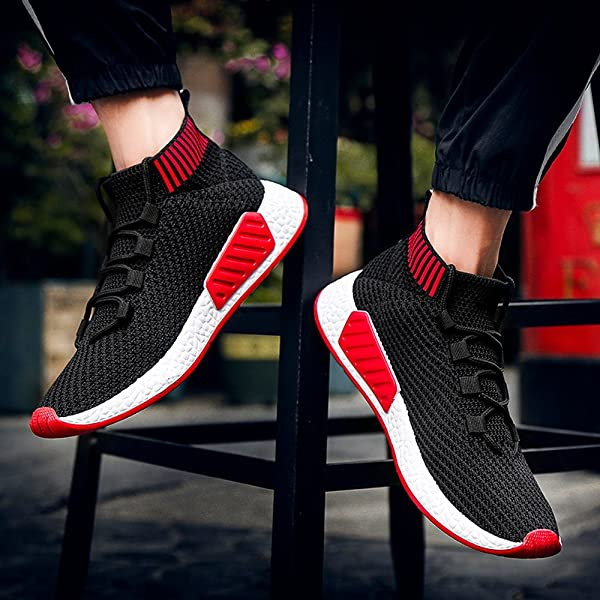 BXzhiri Men High Help Cross Tied Soft Sole Running Shoes Gym Shoes Socks Shoes Comfortable Athletic Shoes